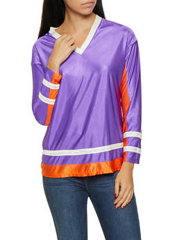 Color Block Long Sleeve Top - 1304074294118