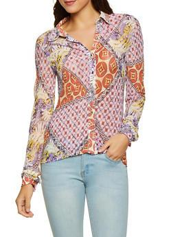 Geometric Print Mesh Shirt - 1304074294129