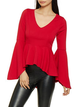 Bell Sleeve High Low Peplum Top - 1304074297146