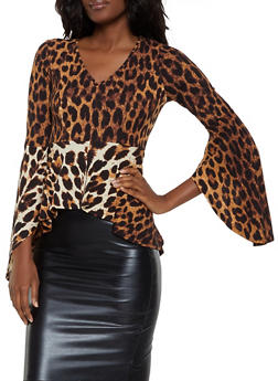 Animal Print Bell Sleeve High Low Top - 1304074297147