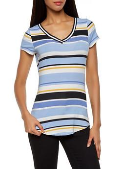 Printed Rib Knit Trim Collar Top - 1305015991502