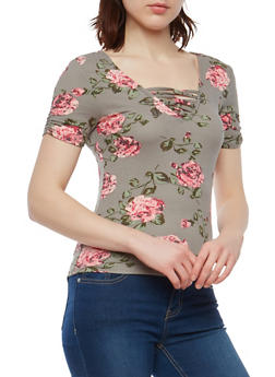 Floral Loop Neck T Shirt - 1305015992000