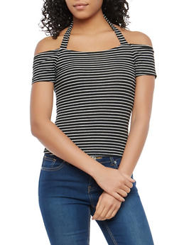 Striped Off the Shoulder Halter Neck Top - 1305015994000