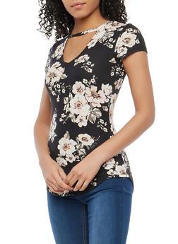 Black Soft Knit Floral Keyhole Neck Top - 1305015994237