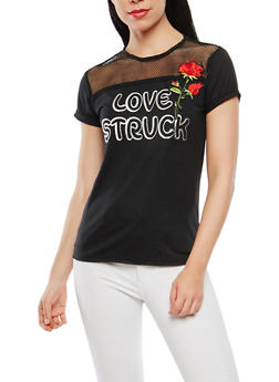 Rose Applique Fishnet Yoke Tee - 1305015994860