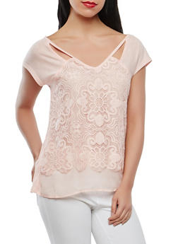 Keyhole Lace Front Tee - 1305015997446