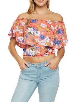 Floral Off the Shoulder Overlay Top - 1305015998370