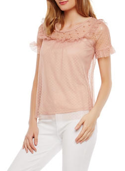Swiss Dot Mesh Studded Yoke Top - 1305015998720