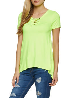 Lace Up V Neck Top - 1305038340107