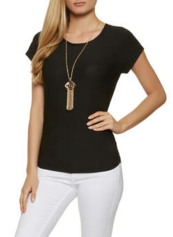 Textured Knit Ruched Top with Necklace - 1305038340138