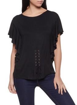 Lace Up Flutter Sleeve Tee - 1305038340252