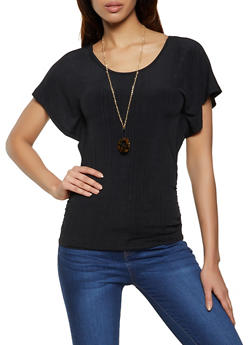 Ribbed Scoop Neck Top with Necklace - 1305038340421