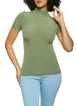 Mock Neck Ribbed Top - 1305038340422