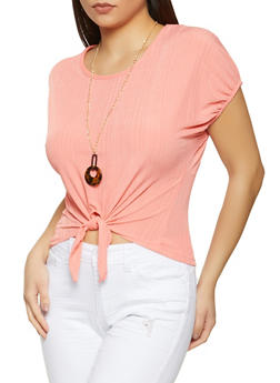 Ribbed Tie Front Top with Necklace - 1305038340425