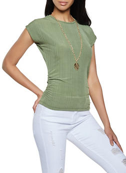 Ruched Top with Necklace - 1305038340426
