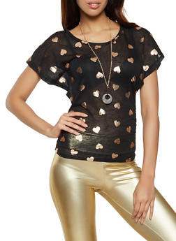 Foil Heart Print Knit Top with Necklace - 1305038340450