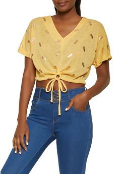 Pineapple Foil Print Crop Top - 1305038341447