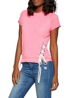 Pink French Terry Womens Tops