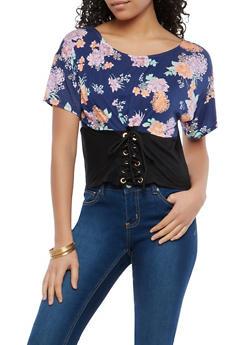 Floral Lace Up Waist Shirt - 1305038342093