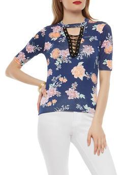 Floral Lace Up Keyhole Neck Top - 1305038342094