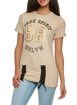 Graphic Lace Up Tee - 1305038342329