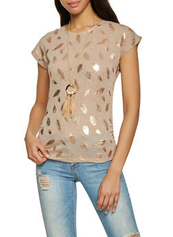 Foiled Feather Print Ruched Tee with Necklace - 1305038349154