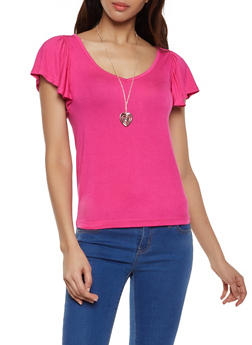 Flutter Sleeve Tee with Necklace - 1305038349201
