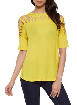 4c877873d2a30f Laser Cut Yoke Tee.  7.99. Half Button Tab Sleeve Blouse - 1401069393278
