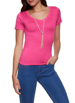 Ruched Soft Knit Tee with Necklace - 1305038349260
