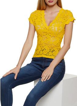 Scalloped V Neck Lace Top - 1305054261838