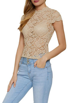 Cap Sleeve Mock Neck Lace Top - 1305054261839