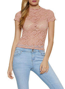 Cap Sleeve Mock Neck Lace Top - 1305054261839