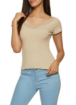 Lace Trim Ribbed V Neck Tee - 1305054262149