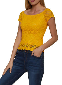 Off the Shoulder Lace Top - 1305054262157