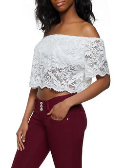 Scalloped Lace Off the Shoulder Top - 1305054269238