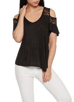 Lace Yoke Cold Shoulder Top - 1305054269839