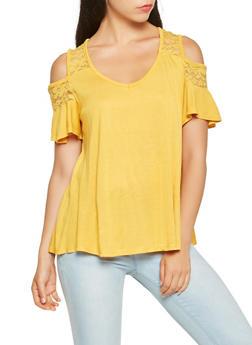 Lace Yoke Cold Shoulder Top - 1305054269839