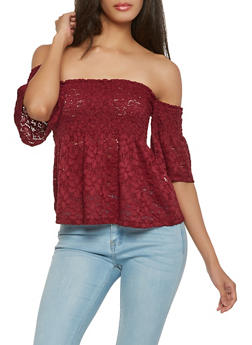 Smocked Off the Shoulder Babydoll Top - 1305054269907
