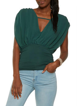Ruched Side Keyhole Top - 1305058750139
