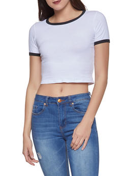 Cropped Ringer Tee - White - Size M - 1305058750380