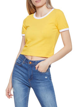 Cropped Ringer Tee - 1305058750380