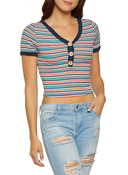 Striped V Neck Cropped Tee - 1305058750455