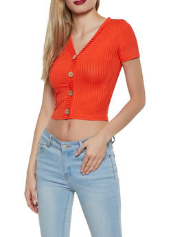 Ribbed Knit Faux Button Top - 1305058750525