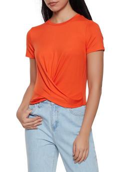 Soft Knit Twist Front Tee - 1305058750572