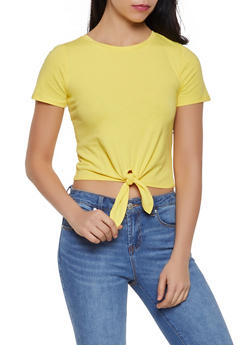 Solid Tie Front Tee - 1305058750638