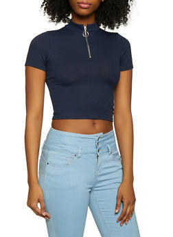 Ribbed Knit Zip Neck Crop Top - 1305058750652