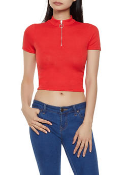 Ribbed Knit Zip Neck Crop Top - 1305058750652