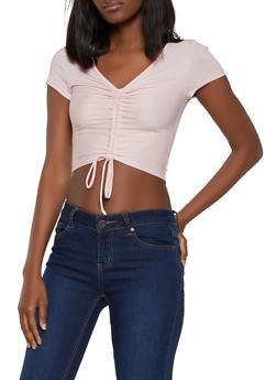 Ribbed Drawstring Front Crop Top - 1305058750684