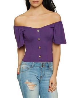 Purple XL Off The Shoulder Tops