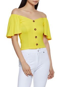 Flutter Sleeve Off the Shoulder Crop Top - 1305058750784
